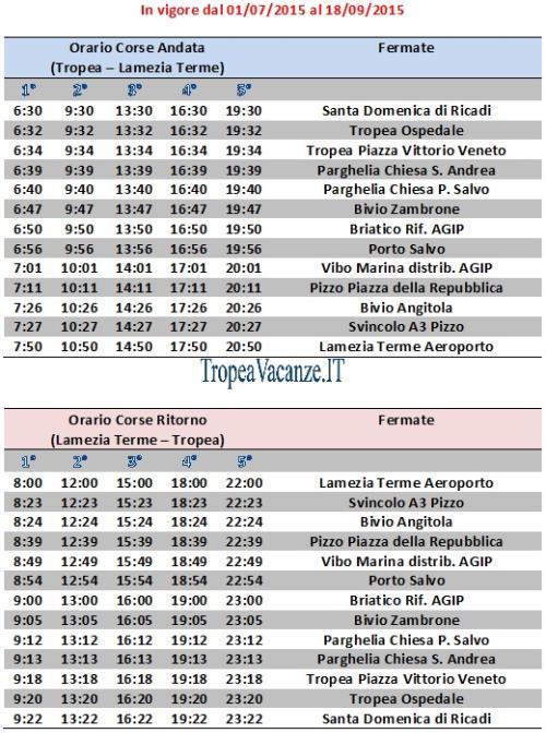 SERVIZIO NAVETTA LAMEZIA AEROPORTO - TROPEA